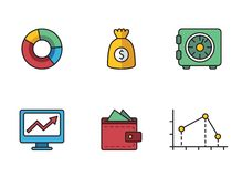 Banking icons. Illustrated icons on the theme of banking and finance, various flat style Royalty Free Stock Photos
