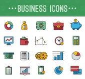 Banking icons. Large set of illustrations modern style flat Stock Photos