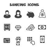 Banking icons. Mono vector symbols Stock Images