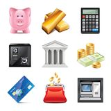 Banking icons photo-realistic vector set Stock Photo