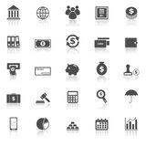 Banking icons with reflect on white background Stock Photo