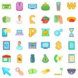 Banking icons set, cartoon style. Banking icons set. Cartoon style of 36 banking vector icons for web isolated on white background Royalty Free Stock Photography