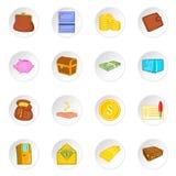Banking icons set, cartoon style Royalty Free Stock Image