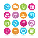 Banking icons. Set of 16 banking icons in colorful buttons Stock Image