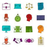 Banking icons doodle set. Banking icons set. Doodle illustration of vector icons isolated on white background for any web design Royalty Free Stock Photo