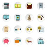 Banking icons set, flat style. Banking icons set. Flat illustration of 16 banking icons for web royalty free illustration