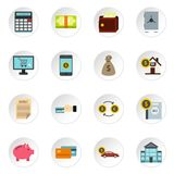 Banking icons set, flat style. Banking icons set. Flat illustration of 16 banking vector icons for web royalty free illustration