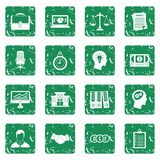 Banking icons set grunge. Banking icons set in grunge style green isolated vector illustration Stock Photo
