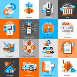 Banking Icons Set. With investment atm credit mortgage isolated vector illustration Stock Photography