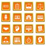 Banking icons set orange. Banking icons set in orange color isolated vector illustration for web and any design Royalty Free Stock Photo
