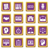 Banking icons set purple. Banking icons set in purple color isolated vector illustration for web and any design Stock Photo