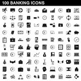 100 banking icons set, simple style. 100 banking icons set in simple style for any design vector illustration Stock Images