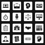 Banking icons set squares vector. Banking icons set in white squares on black background simple style vector illustration Royalty Free Stock Image