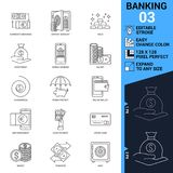 Banking icons set. Thin Line Vector Illustration. Adjust stroke weight - Expand to any Size - Easy Change Colour - Editable Royalty Free Stock Photo