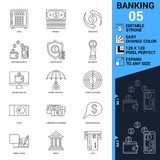 Banking icons set. Thin Line Vector Illustration. Adjust stroke weight - Expand to any Size - Easy Change Colour - Editable Royalty Free Stock Photography
