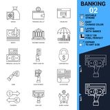 Banking icons set. Thin Line Vector Illustration. Adjust stroke weight. Expand to any Size. Easy Change Colour. Editable Stroke. Layers with Names. Pixel Stock Images