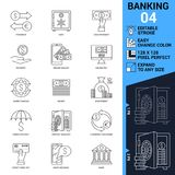 Banking icons set. Thin Line Vector Illustration. Adjust stroke weight - Expand to any Size - Easy Change Colour - Editable Stock Images