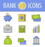 Banking icons set.Vector Royalty Free Stock Image