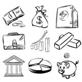 Banking icons set vector  illustration. Banking icons sketch collection  cartoon vector  illustration Stock Photo