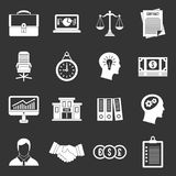 Banking icons set grey vector. Banking icons set vector white isolated on grey background Stock Images