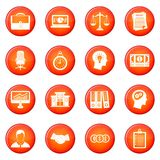 Banking icons vector set. Of red circles isolated on white background Stock Images