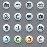Banking icons for web site on gray background. Vector icons set for websites, guides, booklets Stock Images