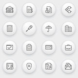 Banking icons with white buttons on gray backgroun. Vector icons set for websites, guides, booklets Stock Photography