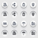 Banking icons on white buttons. Set 1. Vector icons set for websites, guides, booklets Royalty Free Stock Photos