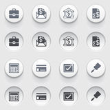 Banking icons on white buttons. Set 2. Vector icons set for websites, guides, booklets Royalty Free Stock Image