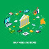 Banking Industry Round Composition. Data isometric round composition of organiser items and money icons with computer electronics and bank facade vector Royalty Free Stock Photo