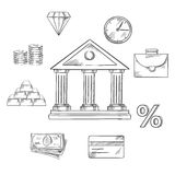 Banking infographic elements in sketch style. Banking infographic elements with central bank building encircled with icons of money, gold bullion, briefcase Stock Photo