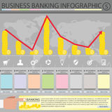 Banking infographic. This work describes what about finances. on tone background. There are various icons that represent topic Royalty Free Stock Photos