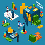Banking  Isometric Design Concept set. With employees customers and bank vault vector illustration Royalty Free Stock Photography