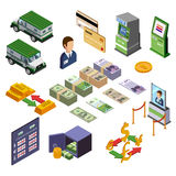 Banking Isometric Icons Set. Of payment terminal armored trucks credit cards and cash vector illustration Stock Photography
