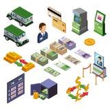 Banking Isometric Icons Set Stock Photography