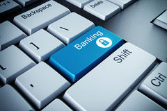 Banking key. Blue keyboard button with the word banking stock illustration