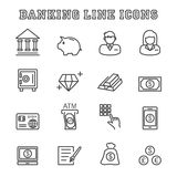 Banking line icons. Mono vector symbols Royalty Free Stock Photo
