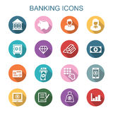 Banking long shadow icons Royalty Free Stock Images