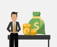 Banking man business sit with bag money and coins Stock Image