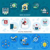 Banking Marketing Banners Set Royalty Free Stock Photography