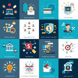 Banking marketing concept flat icons set. Online internet banking secure payments options with commercial market analysis flat icons set abstract  vector Stock Photo