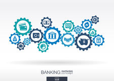 Banking mechanism. Abstract background with connected gears and integrated flat icons. Connected symbols for money, card, bank, business and  finance concepts Stock Photography