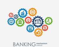 Banking mechanism. Abstract background with connected gears and integrated flat icons. symbols for money, card, bank Royalty Free Stock Images