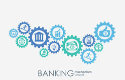 Banking mechanism. Abstract background with connected gears and integrated flat icons.  symbols for money, strategy Royalty Free Stock Image