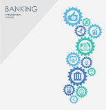 Banking mechanism. Abstract background with connected gears and integrated flat icons.  symbols for money, strategy Stock Photo