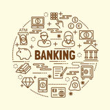 Banking minimal thin line icons set. Vector illustration design elements Royalty Free Stock Photography