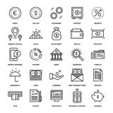 Banking and Money. Abstract vector collection of line banking and money icons. Elements for mobile and web applications Stock Photography