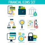 Banking money financial services set credit sign development online accumulation bank investment management finance. Banking money financial services set credit Royalty Free Stock Photography