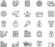 Banking and money icons. A set or collection of black and white icons or graphics related to banking and money Stock Images