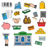 Banking, money and retail icons Royalty Free Stock Images